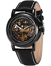 Men's Automatic Mechanical Watch, Royal Carving Self Wind Classic Leather Band Vintage Black Dial Skeleton Analog...