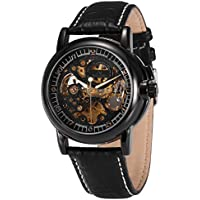 KS Men's Automatic Mechanical Watch, Royal Carving Self Wind Classic Leather Band Vintage Black Dial Skeleton Analog Wrist Watch KS003
