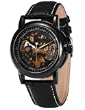 KS Royal Carving Men's Luxury Skeleton Automatic Mechanical Black Leather Analog Sport Watch KS036