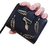Women's Wallet with Gold Leaf Motif (Black)