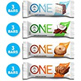 ONE Protein Bar, Best Sellers Variety Pack, 12-Pack, Gluten-Free with 20g Protein and only 1g Sugar, Includes Birthday Cake, Almond Bliss, Maple Glazed Doughnut & Peanut Butter Pie