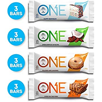 ONE Protein Bars Best Sellers Variety Pack Gluten Free With 20g And Only 1g Sugar Includes Birthday Cake Almond Bliss Maple Glazed Doughnut