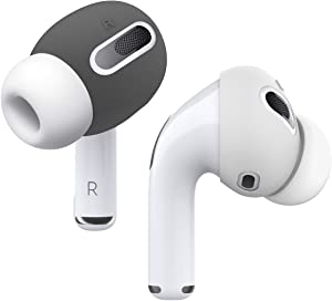 elago AirPods Pro Ear Tips Cover Designed for Apple AirPods Pro [Fit in The Case] (2 Pairs of 2 Colors) (Dark Grey/White)