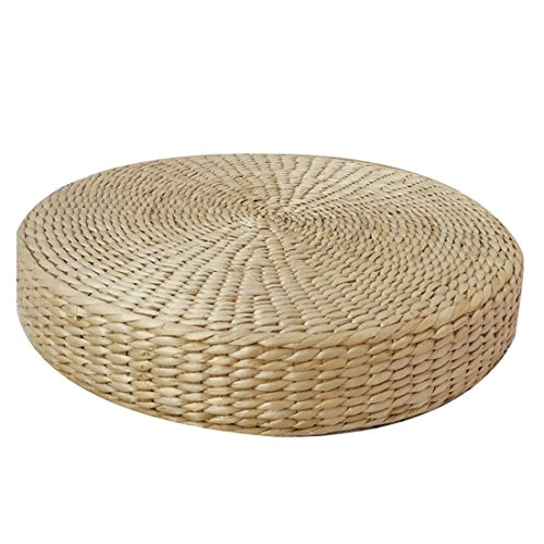 Prime Leader Japanese Style Handcrafted Knitted Straw Futon Tatami Floor Zafu Handcrafted Flat Seat Cushion Eco-friendly Breathable Padded,Primary Color 23.6