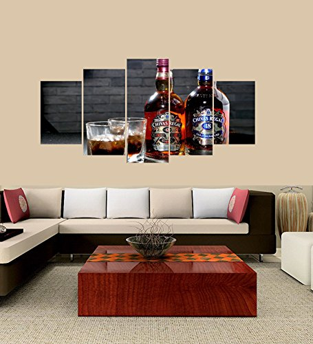 (PEACOCK JEWELS Premium Quality Canvas Printed Wall Art Poster 5 Pieces / 5 Pannel Wall Decor Chivas Regal Painting, Home Decor Pictures - with Wooden Frame)
