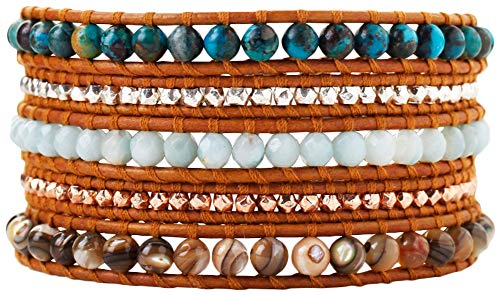 Chan Luu Women's Semi-Precious Stone Five-Wrap Bracelet Compressed Turquoise Mix One Size