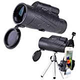 NOCOEX 10X50 High Power Waterproof Compact for Adults Monocular, Adjustable Eyecups and Bak4 Prism Telescope, with Phone Adaptor and Tripod for Bird Watching,Stargazing, Travelling, Hunting-Black