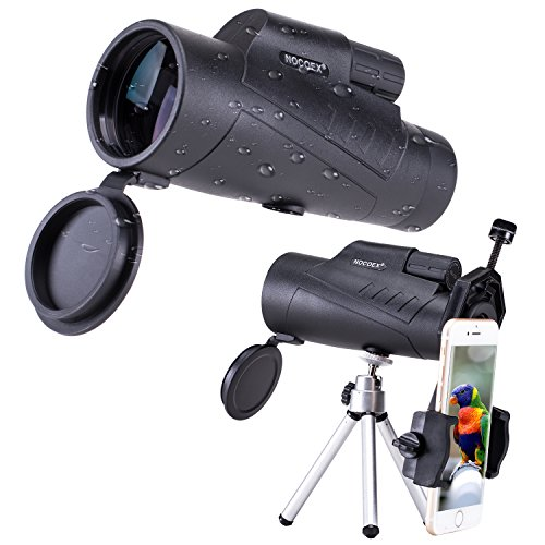 NOCOEX 10X50 High Power Waterproof Compact for Adults Monocular, Adjustable Eyecups and Bak4 Prism Telescope, with Phone Adaptor and Tripod for Bird Watching,Stargazing, Travelling, Hunting-Black by NOCOEX
