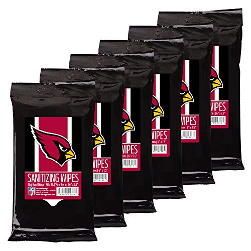 Worthy Promo NFL Arizona Cardinals Party Supplies Sanitizing Wipes 6-Pack ()