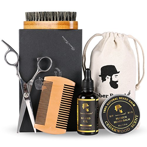 Men Beard Care Set Beard Grooming & Trimming Kit for men gift with Beard Brush ,Beard Comb,Mustache Scissors ,Unscented Beard Oil ,Beard Balm for Styling, Shaping & Growth Gift Set