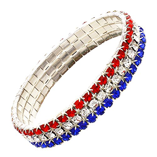 Rosemarie Collections Women's Red White and Blue Rhinestone Stretch Bracelet -