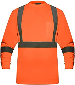 High Visibility Fluorescent Safety T-Shirt - Full Sleeve - 100% Cotton (2XL - 3 pack, Orange)