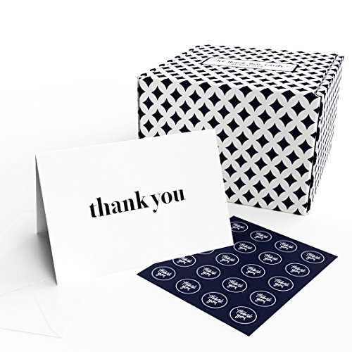 Thank You Cards - 100 Thank You Notes with Envelopes and Sealing Stickers, Letterpress - Greeting Cards Assortment Great for Baby Showers, Birthdays, Weddings, Business by Krafster (100 Cards) - Thank You Card Stationary
