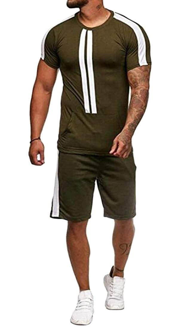 KLJR Men Shirt /& Beach Shorts Short Sleeve Athletic Contrast Bodybuilding Outfits