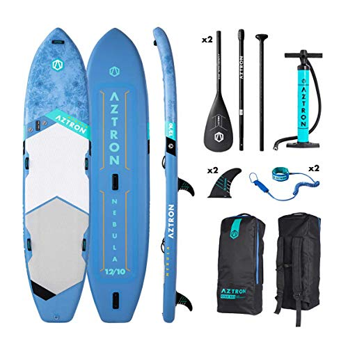"""Aztron Nebula 2 Person Inflatable SUP Board 12'10"""" Double Layer incl. 2 Adjustable Aluminum Paddle and 2 Leash"""