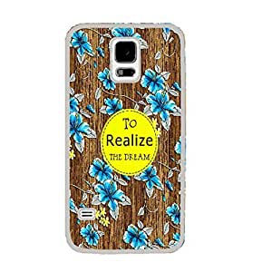Floral Pattern Wood Print for Samsung Galaxy S5 I9600 Hard Protective Skin Cell Phone Case Cover (monogram white ju5245)