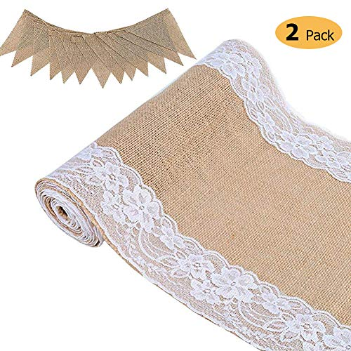(stylish14 Burlap Table Runner and Lace Burlap Rolls, Rustic Natural Table Runner 12x108 inches with DIY Ribbon Roll Wedding Party Dining Decor Khaki Pack of)