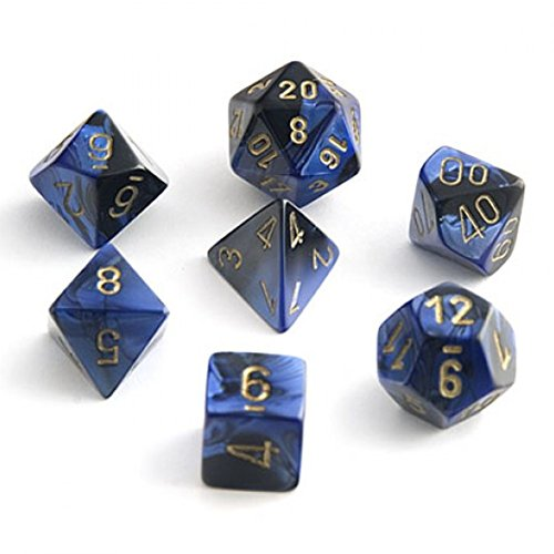 - Chessex Gemini Black And Blue With Gold Polyhedral 7 Dice Set