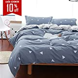 Uozzi Bedding 3 Piece Duvet Cover Set Queen/Full, Reversible Printing with Brushed Microfiber, Lightweight Soft, Comfortable , Durable (Gray, Queen)