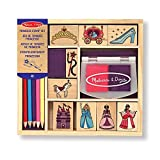 Melissa & Doug Wooden Princess Stamp Set: 9 Stamps, 8 Colored Pencils, and 2-Color Stamp Pad