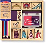 Melissa & Doug Wooden Princess Stamp Set: 9 Stamps, 5 coloured Pencils, and 2-colour Stamp Pad