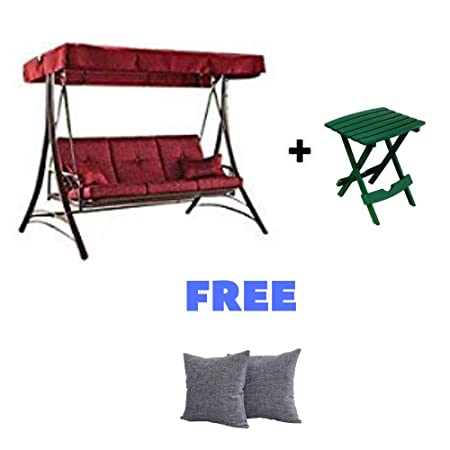 BLOSSOMZ* Outdoor Porch Swing Deck Weather Resistant Wrought Iron Metal Frame with Cushion, Dark Red with Side Table and Throw Pillow