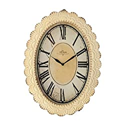 ELEGENCE-Z American Retro Wall Clock Old Iron Lace Creative Living Room Oval Wall Clock, 34467CM, Beige