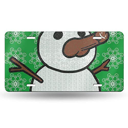 Christmas Penis Snowman Sweater Green US License Plate Tag From 50 States In The United States,Customized Unique Printed License Plate,Suitable For All Cars,Used For Room Decoration,Bar Decoration