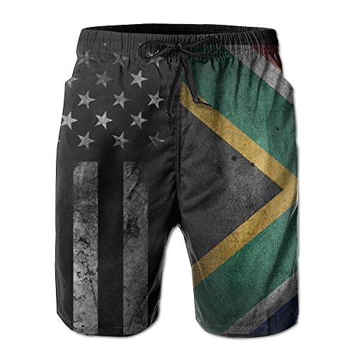 SANNER-SU American Flag and South Africa Flag Men's Board Shorts Swim Trunks Beach Short by SANNER-SU