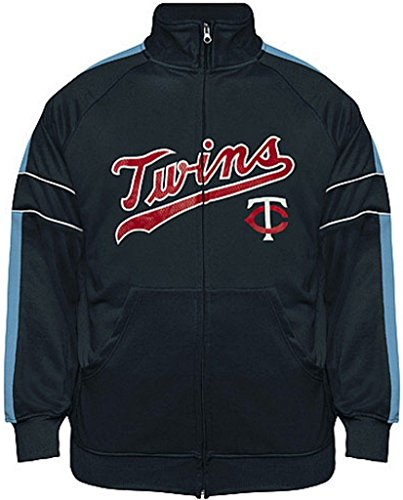 Minnesota Twins Mens Jackets - VF Minnesota Twins MLB Mens Cooperstown Majestic Field Track Jacket Navy Blue Big & Tall Sizes (LT)