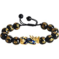 ABONDEVER Feng Shui Pixiu Black Obsidian Wealth Bracelet Color Change 14K Plated Adjustable Handmade Braided Rope Lucky Jewelry