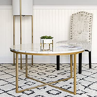 Best Choice Products 35in Modern Living Room Round Accent Side Coffee Table w/Metal Frame, Faux Marble Top - White/Gold - Decorative, round coffee table serves as a modest yet elegant living room addition for placing magazines, snacks, beverages, or a classy centerpiece Metal frame connects each leg for maximum stability with its cross design, fusing durability with a modern-contemporary appearance A durable, laminate faux marble table top sits atop the frame designed with a smooth gold finish to add life to any setting - living-room-furniture, living-room, coffee-tables - 510A80hQkBL. SS400  -