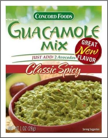 Concord Foods, Guacamole Mix, Classic Spicy, 1oz Packet (Pack of 6)]()