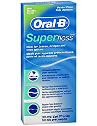 Oral-B Super Floss Mint Dental Floss Pre-Cut Strands 50 ea ( Pack of 2)