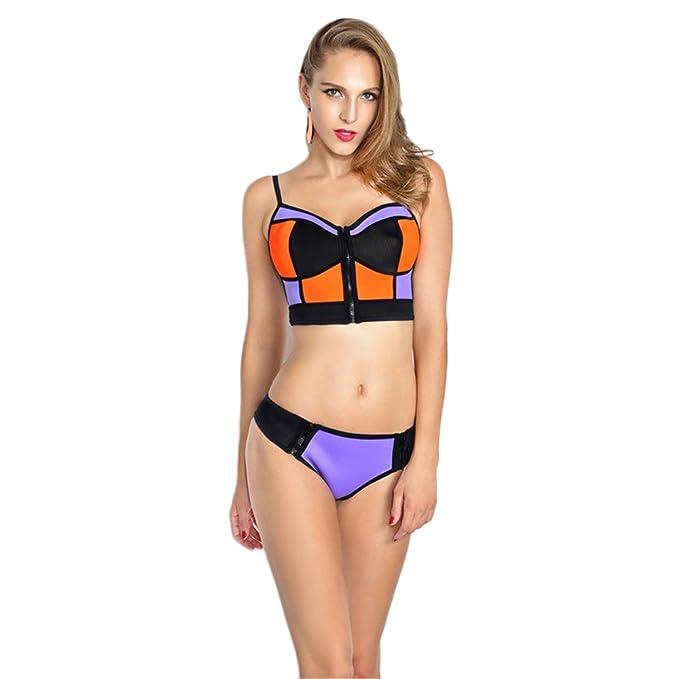 Dabag- Mujer Sling Push Up Bikini Golpear El Color Bañador de Dos Piezas Conjuntos With zipper: Amazon.es: Ropa y accesorios