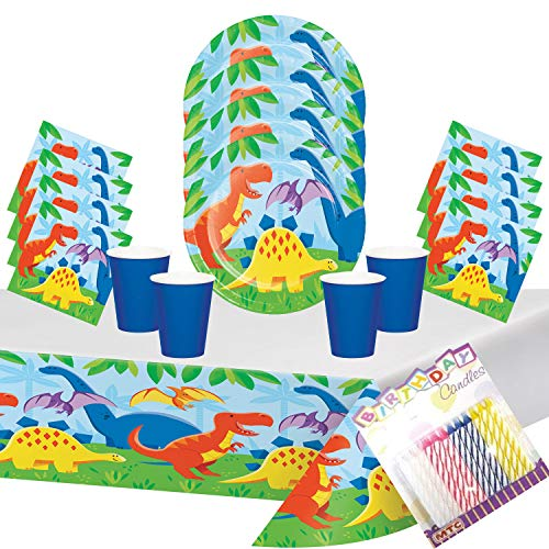 Dinosaur Friends Party Plates Napkins Cups and Table Cover (Serves-16) with Birthday Candles - Dinosaur 1st Party Supplies Pack Deluxe (Bundle for 16) - Friends Cup Party