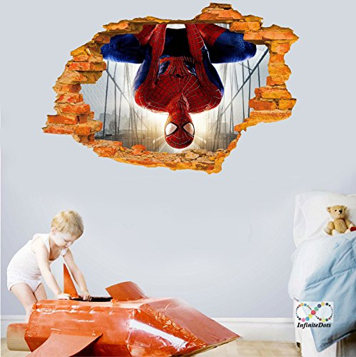 """Spiderman Upside Down - 3D Superhero Wall graphics sticker/poster for Wall decor Bedroom / Living Room / Kids Room (36"""" x 24"""" inches)"""