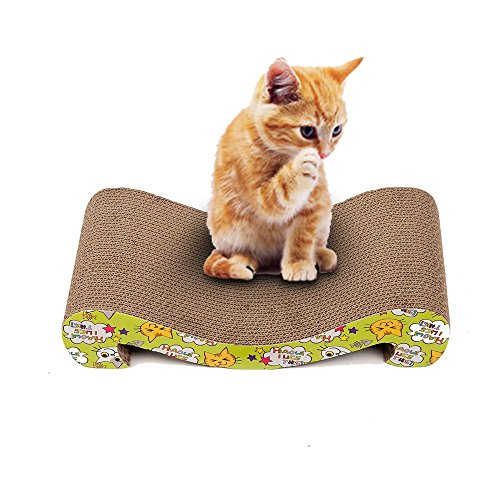 Kitty Scratching Ramp (Langxian Cat Scratcher Cardboard, Recyclable Corrugated Scratching Pad with Wave Curved Catnip Scratch-resistant Bed Sofa for Cat (Large))