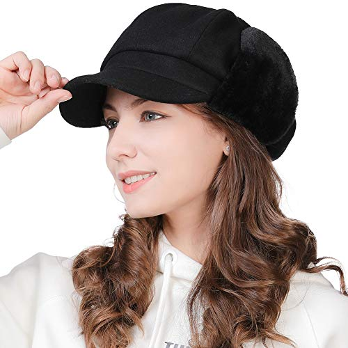 (Womens Wool Newsboy Cap with Ear Flaps Conductor Visor Beret Winter Trapper Hat Fur Hunting Snow Cold Weather Black)
