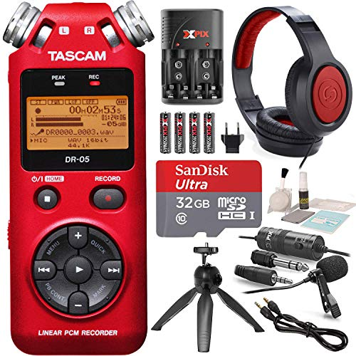 - Tascam DR-05 (Version 2) Portable Handheld Digital Audio Recorder (Red) with Platnium accessory bundle