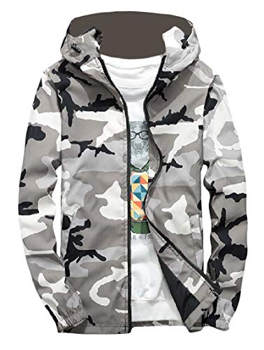 Style Zip College Outwear EnergyMen Full Jacket Camo Gray Hooded Windbreaker PIf1q5w