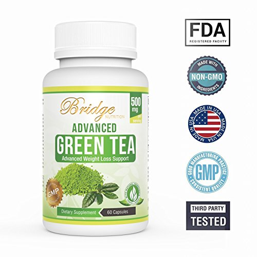 Green Tea Extract for Natural Weight Loss - Boost Metabolism & Promote a Healthy Heart - Natural Fat Burner Caffeine for Energy - Antioxidant & Free Radical Scavenger - GMP Certified- 60 Capsules