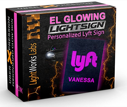 Personalized Lyft Light Sign - Illuminated Glowing Pink Trade-Dress Decal with Custom ()