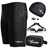 Preferhouse Men's Jammer Swimsuit Shorts + Swim Goggles + Swimwear Cap + Nose Clip + Ear Plugs Swimming Bag Set