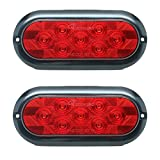 """Leading Edge Lighting TL-62721-R LED Stop Turn Tail Light Surface Mount Trailer Truck RV, Gasket Waterproof, Warranty, 2 Lights, Pair of 6"""", Oval Red"""