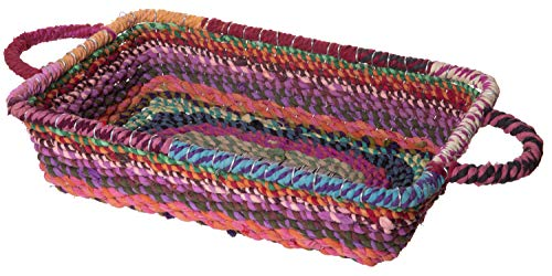 Red Co. Fabulous Colorful Jute Rectangular Basket with Handles, Boho Chic Home Décor, 13