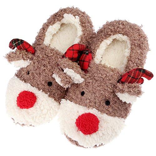 Puhibuox Christmas Slippers for Women, Fleece Slip On House Cute Slippers for Girfirend, Mom, Teen Girls, Soft Indoor Outdoor Home Winter Slippers (Women's 4-6)