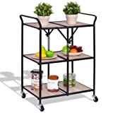3-Tier Kitchen Folding Storage Shelves Rolling Trolley Organizer Serving Us Portable Durable CHOOSEandBUY