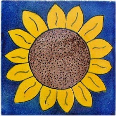 (Fine Crafts Imports 4.2x4.2 9 pcs Big Sunflower Talavera Mexican Tile)