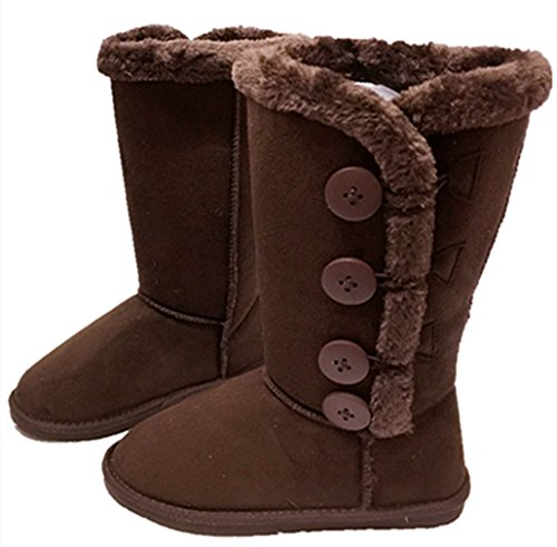 Womens Fur Mid-calf 4 Buttons Faux Soft Snow Winter Flat Boot Shoes NEW Brown T13DF